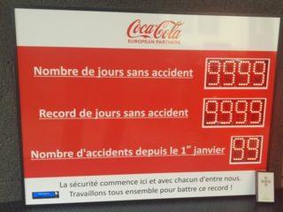 Coca-Cola - nombre de jours sans accident - 10 digit 8cm