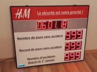 H&M - Nombre de jours sans accident - 9 digit 12cm + horloges digit 10cm