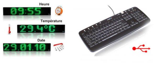Heure, date, température